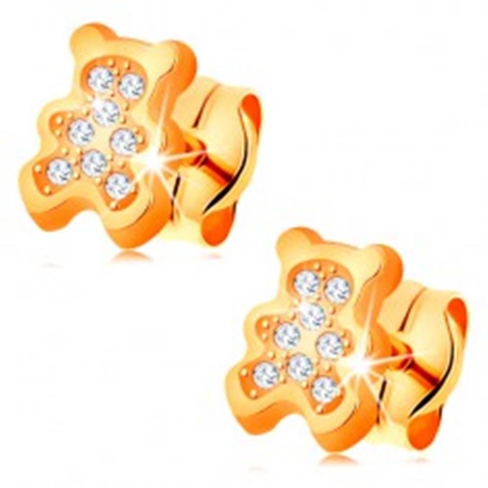 Šperky eshop Zlaté náušnice 585 - medvedík vykladaný čírymi zirkónmi, puzetky
