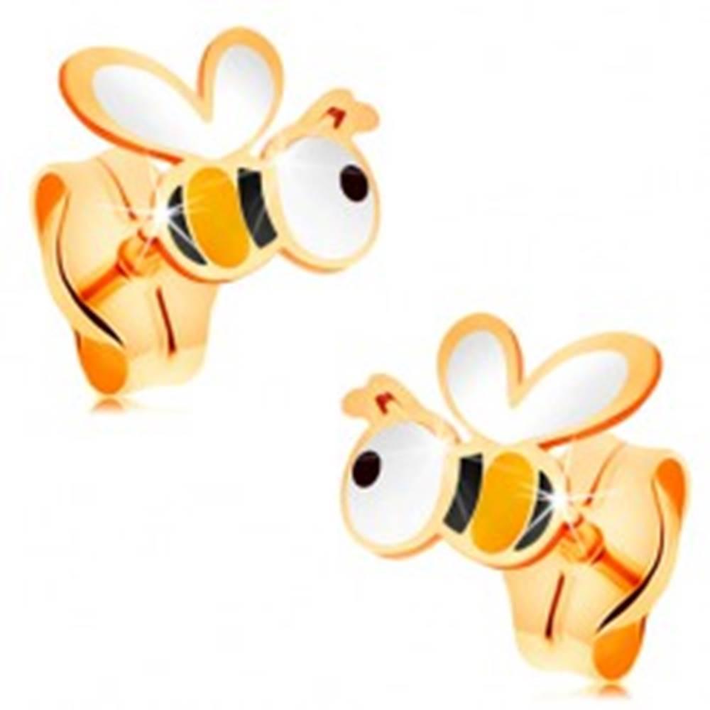 Šperky eshop Zlaté náušnice 585 - roztomilé včeličky s farebnou glazúrou, puzetky