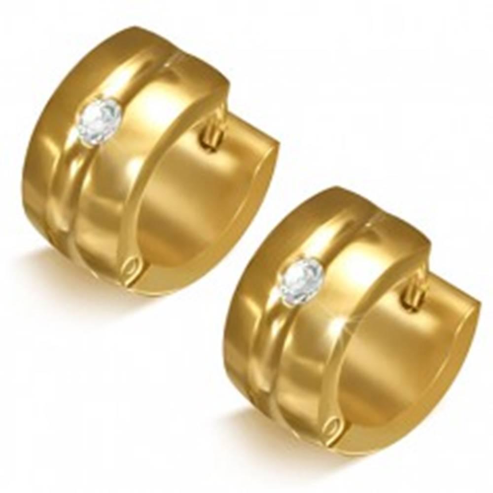 Šperky eshop Zlatisté náušnice z chirurgickej ocele - kruhy s priehlbinou a čírym kamienkom
