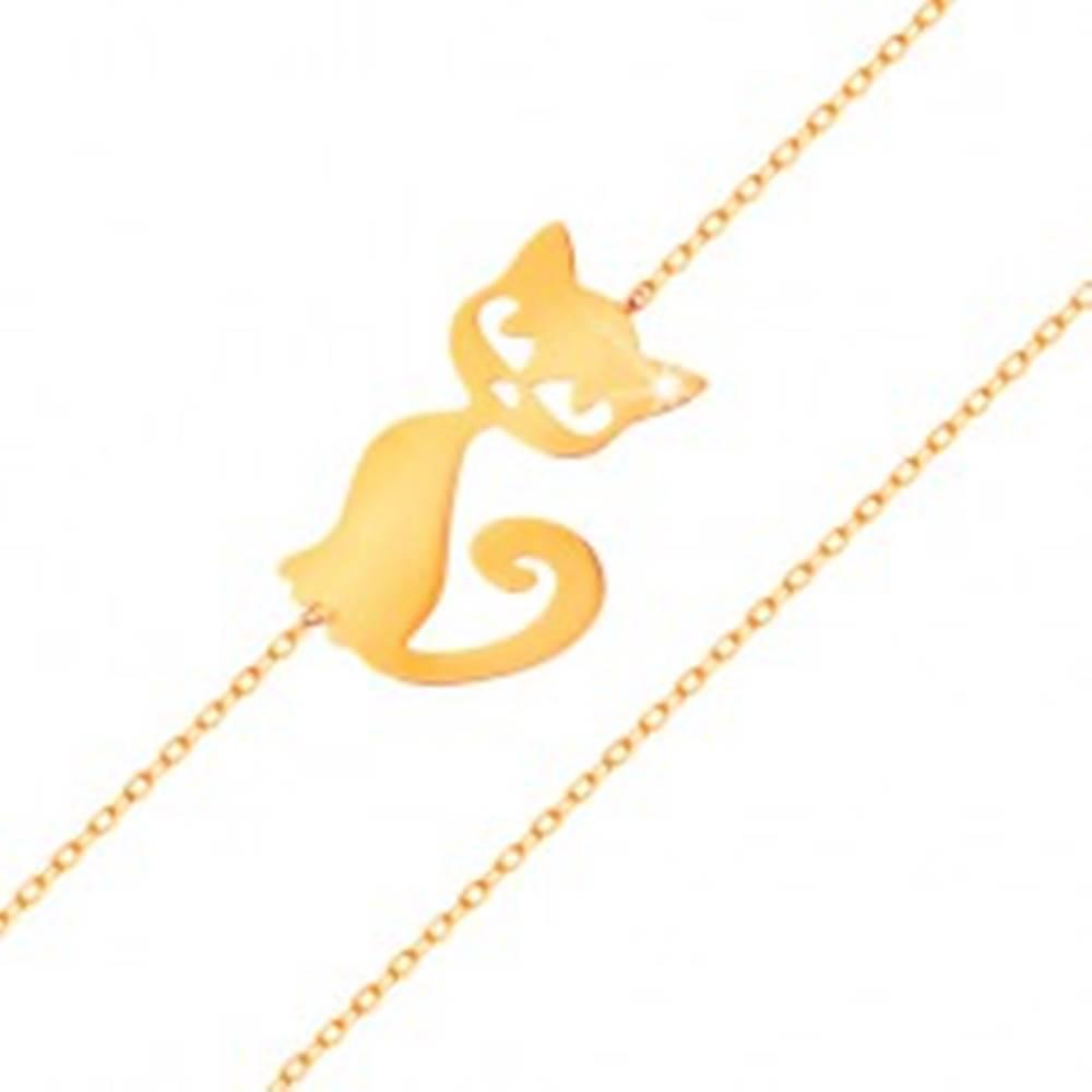 Šperky eshop Zlatý náramok 585 - jemná ligotavá retiazka, plochý prívesok - mačička