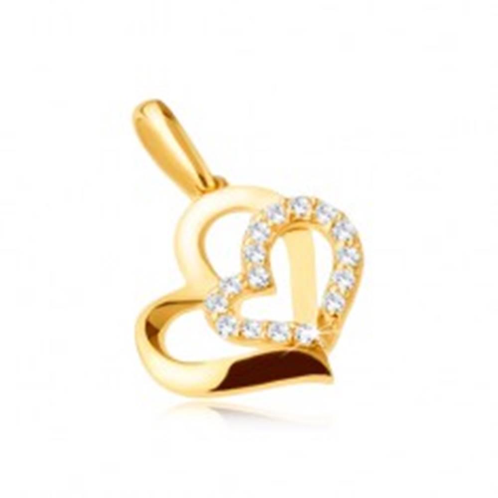 Šperky eshop Zlatý prívesok 585 - dve asymetrické kontúry srdiečok, zirkóniky