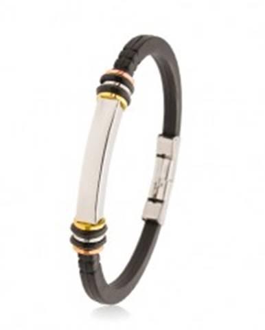 Náramok gumený čierny, oceľový hranol, trojfarebné kruhy, gumené kolieska