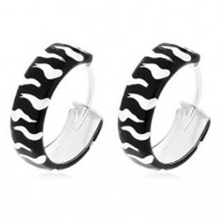 Čierno-biele kruhy, strieborné 925 náušnice s glazúrovaným povrchom, 15 mm