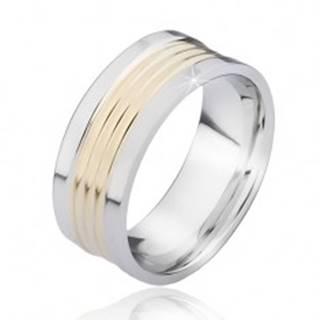 Dvojfarebný oceľový prsteň so zaoblenými pásmi zlatej farby - Veľkosť: 57 mm