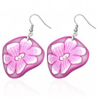 FIMO náušnice - kruhy s kvetmi v bielej a ružovej farbe