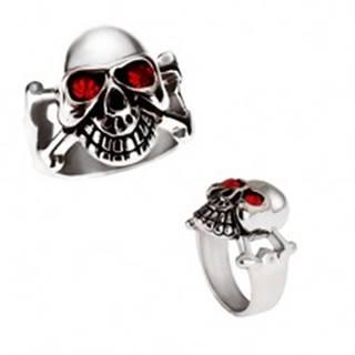 Lesklý oceľový prsteň - lebka striebornej farby s červenými očami - Veľkosť: 59 mm