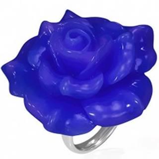 Lesklý oceľový prsteň - modrá ruža zo živice - Veľkosť: 49 mm
