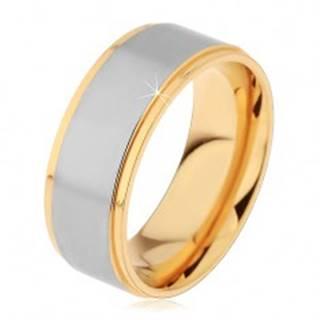 Lesklý oceľový prsteň strieborno-zlatej farby s dvomi zárezmi - Veľkosť: 57 mm