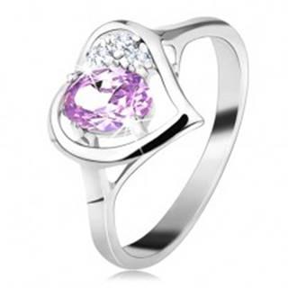 Lesklý prsteň v striebornej farbe s obrysom srdca, svetlofialový oválny zirkón - Veľkosť: 49 mm