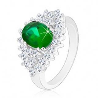 Lesklý prsteň v striebornom odtieni, brúsené číre zirkóniky, tmavozelený ovál - Veľkosť: 48 mm