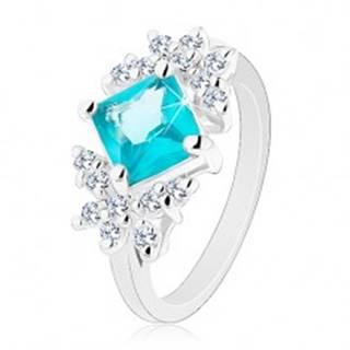 Ligotavý prsteň, brúsený zirkónový štvorec akvamarínovej farby, číre motýle - Veľkosť: 49 mm