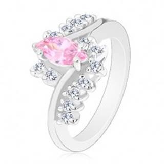 Ligotavý prsteň so striebornou farbou, ružové zrnko, zirkónové číre línie - Veľkosť: 51 mm