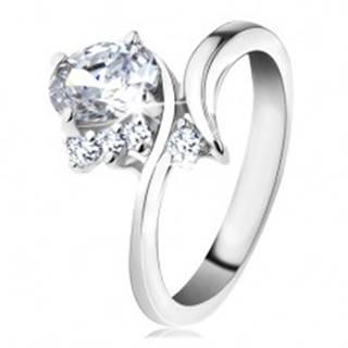 Ligotavý prsteň so zahnutými ramenami, číry ovál, okrúhle číre zirkóniky - Veľkosť: 48 mm