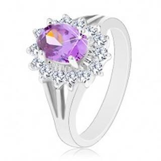 Ligotavý prsteň v striebornej farbe, fialový ovál, priezračná zirkónová obruba - Veľkosť: 50 mm