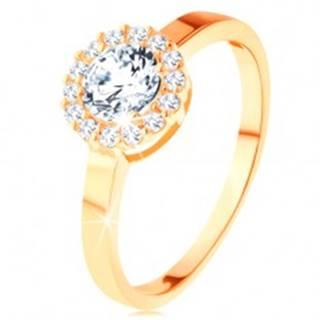 Ligotavý prsteň v žltom 14K zlate - okrúhly zirkón s obrubou z čírych zirkónikov - Veľkosť: 49 mm