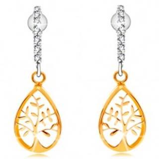 Náušnice v kombinovanom 14K zlate - oblúk z čírych zirkónikov, strom života
