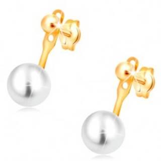 Náušnice v žltom 14K zlate, lesklá hladká guľôčka a veľká biela perla
