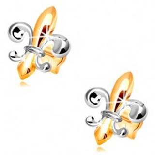 Náušnice zo zlata 14K - dvojfarebný symbol Fleur de Lis