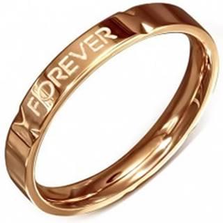 """Obrúčka ružovozlatej farby - oceľová, """"Forever Love"""" - Veľkosť: 49 mm"""