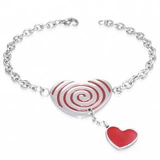 Oceľový náramok - červené srdce so špirálou, retiazka