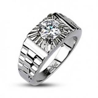 Oceľový prsteň - lúče striebornej farby, hodinkový štýl - Veľkosť: 59 mm