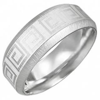 Oceľový prsteň so vzorom gréckeho kľúča, skosené hrany - Veľkosť: 54 mm