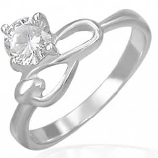 Oceľový zásnubný prsteň - číry zirkón a symbol nekonečna - Veľkosť: 49 mm