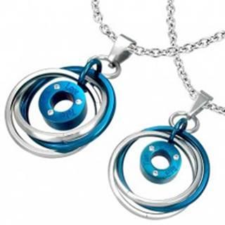 Prívesok pre dvoch - prepletené prstence, nápis, zirkóny