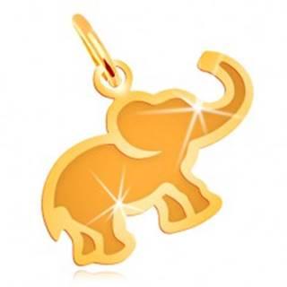 Prívesok v žltom 14K zlate - malý plochý sloník s matným stredom