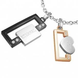 Prívesok z ocele pre dvoch - obdĺžniky, srdce, známka