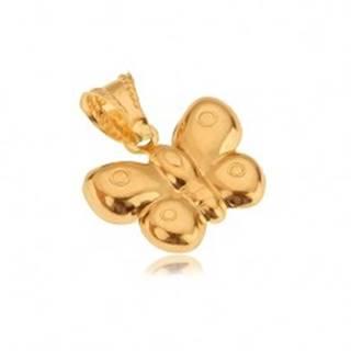 Prívesok zo zlata 14K, trojrozmerný motýľ, lesklý povrch