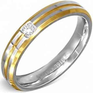 Prsteň strieborno-zlatej farby z ocele s malým čírym zirkónom - Veľkosť: 49 mm