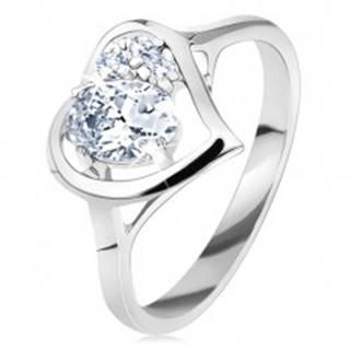Prsteň v striebornom odtieni, lesklý obrys srdca s oválom, číre zirkóniky - Veľkosť: 50 mm