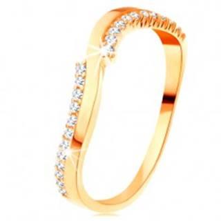 Prsteň v žltom 14K zlate - jedna hladká a dve zirkónové vlnky - Veľkosť: 49 mm