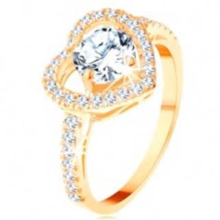 Prsteň v žltom 14K zlate - veľký ligotavý obrys srdca s okrúhlym zirkónom - Veľkosť: 49 mm