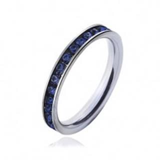 Prsteň z chirurgickej ocele s tmavo-modrými zirkónmi - Veľkosť: 49 mm