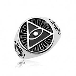 Prsteň z ocele 316L, čierny patinovaný kruh a trojuholník s okom - Veľkosť: 58 mm