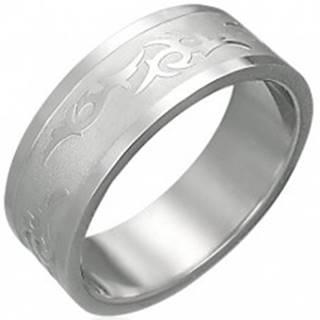 Prsteň z ocele s kmeňovým ornamentom - Veľkosť: 54 mm