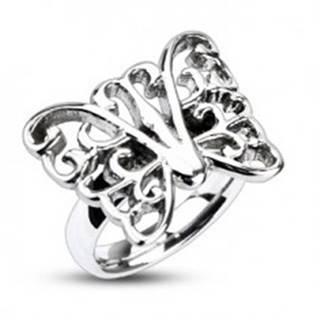 Prsteň z ocele - veľký zdobený motýľ - Veľkosť: 49 mm