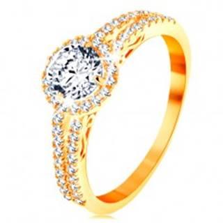Prsteň zo žltého 14K zlata - číry zirkón s ligotavým lemom, zdobené ramená - Veľkosť: 49 mm