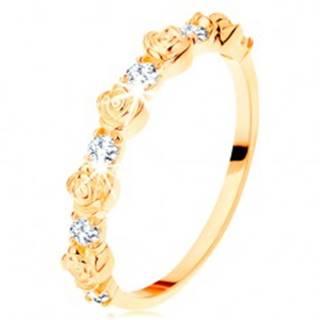 Prsteň zo žltého 14K zlata - striedajúce sa ružičky a okrúhle číre zirkóny - Veľkosť: 49 mm