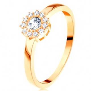 Prsteň zo žltého 14K zlata - trblietavý kvet z okrúhlych čírych zirkónov - Veľkosť: 49 mm