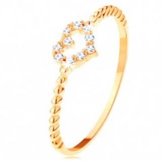 Prsteň zo žltého 14K zlata - zirkónový obrys srdiečka, vrúbky na ramenách - Veľkosť: 49 mm