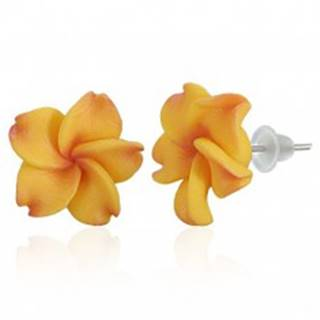 Puzetové FIMO náušnice - žltočervený kvet Plumérie