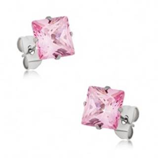 Puzetové náušnice z ocele, ružový štvorcový zirkón - rôzne veľkosti - Rozmer: 4 x 4 mm