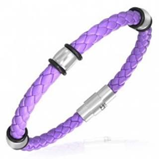 PVC pletený náramok - oceľové krúžky, fialový