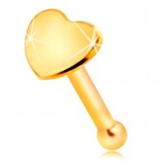 Rovný piercing do nosa v žltom 14K zlate - malé lesklé srdiečko