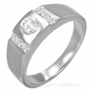 Snubný prsteň - okrúhle očko lemované zirkónovými pruhmi - Veľkosť: 49 mm