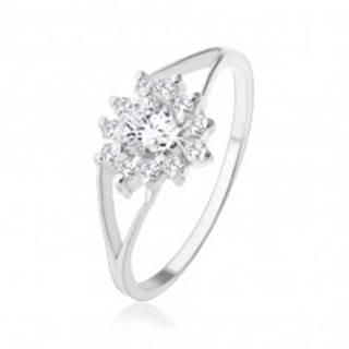 Strieborný 925 prsteň, číre zirkónové srdiečko, trblietavý obrys - Veľkosť: 49 mm