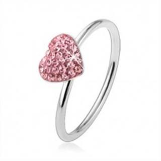 Strieborný prsteň 925 so svetloružovým zirkónovým srdcom - Veľkosť: 48 mm